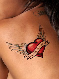 """Let you heart soar"" with this beautiful heart tattoo. A winged heart tattoo can represent being in love, loss of a loved one or freedom and ascension. Available as a black or color tattoo, it looks g"