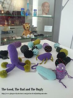 """The Good, The Bad and The Bugly"" - can you help us round up some more #microbes for a Glasgow schools project? Find out more and links to knitting patterns: http://www.glasgowcityofscience.com/get-involved/knitting-microbes"