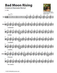 "The full drum sheet music for ""Bad Moon Rising"" by Creedence Clearwater Revival from the album Green River Drum Sheet Music, Drums Sheet, Sheet Music Pdf, Music Sheets, Learn Drums, How To Play Drums, Drummer Quotes, Drum Rudiments, Drum Notes"