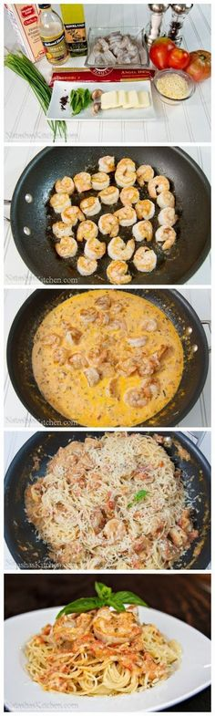Spaghetti with Shrimp in a Creamy Tomato Sauce. Low carb option to use spaghetti squash instead of pasta. Spaghetti with Shrimp in a Creamy Tomato Sauce. Low carb option to… Seafood Dishes, Pasta Dishes, Seafood Recipes, Dinner Recipes, Cooking Recipes, Healthy Recipes, Sauce Recipes, Recipes With Shrimp, Free Recipes