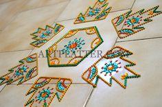 Temple Border Motif Kundan Rangoli - DIY • Art Platter
