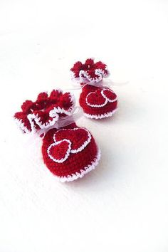 Valentines Baby   Red baby booties with Hearts  by Sissta on Etsy, $19.00