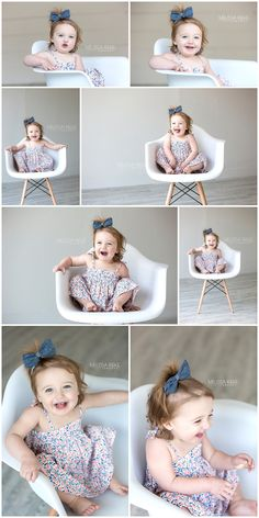 18 Month Old Baby Girl Photo Shoot using Modern White Chair as a prop at the natural light studio of Melissa Rieke Photography in the Kansas City Area. http://www.melissariekephotography.com/modern-white-chair-mini-photo-shoot/