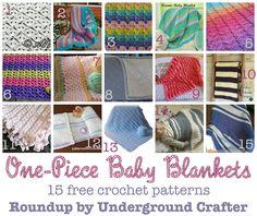 One-Piece Baby Blankets, #roundup of 15 free #crochet patterns on Underground Crafter