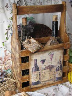 """Купить """" Baron Rouge """" Короб для вина. - коричневый, короб для вина, вино, виноград"""