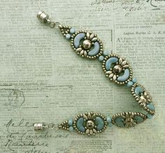 Linda's Crafty Inspirations: Bracelet of the Day: Tweaked Jolie Band - Pale Blue & Silver