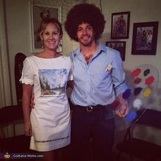 Bob Ross and Canvas costume!! lol love it