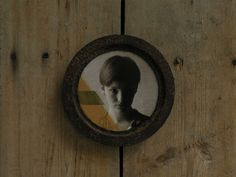 Rusty cast iron frame, reclaimed wood, encaustic photography, baking paper, japanese paper, 21 cm. Made in Zahrada