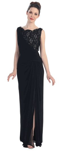 Sleeveless Lace/Chiffon Formal Evening Gown #dressformothers #black #formaldress