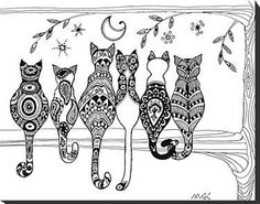 6 cats on branch, zentangle design, posterior view ..