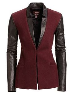 Danier, leather fashion and design. They have such beautiful leather jackets! Mode Rock, Leather Blazer, Jackett, Blazer Jacket, Red Blazer, Fashion Outfits, Womens Fashion, Leather Fashion, What To Wear