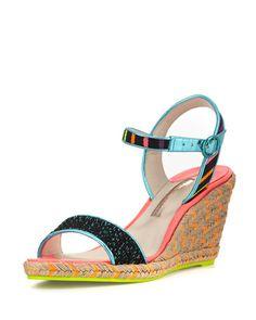 Lucita Striped Wedge Sandal, Black. Platform Wedge SandalsStrappy SandalsAnkle  Strap ...