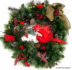 Woodland Cardinal door Wreath Fall Christmas Winter 4 season design by Cabin Cove Creations