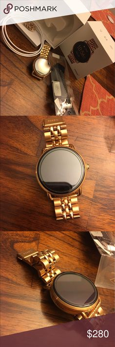 Rose gold Fossil Q Wander Smart Watch It's for both female and male, never been used, syncs to any phone, and comes with charger and changeable band that was an extra $35! Brand new! Fossil Accessories Watches