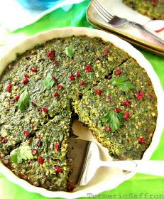"""From """"Turmeric and Saffron"""": Kookoo Sabzi (Herb cake, served for Persian new year), baked version."""