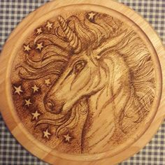 Wood Carved Unicorn Head For Christmas Gift