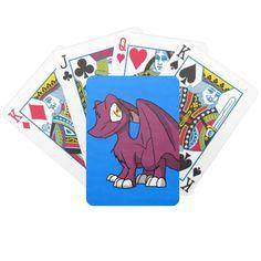 Any Color SD Furry Dragon w/ Blue Background Poker Deck  #zazzle #artofganenek #playingcards