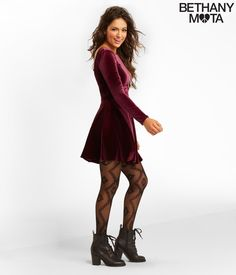 Solid Velvet Dress - Aeropostale