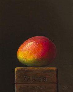 """Mango on a Wood Block"" - Original Fine Art for Sale - © Abbey Ryan"
