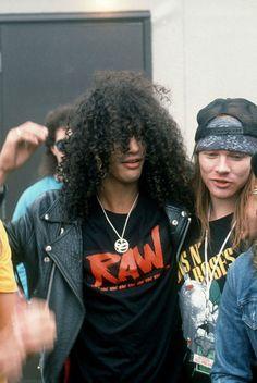 Slash and Axl Rose, Castle Donington Park, England, 1988 Guns n' roses #gnr…