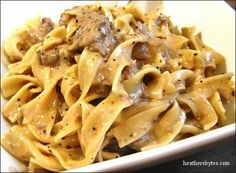 Crock-pot Beef Stroganoff. HATED IT. If you do try it, don't follow the comments for making it faster. Made my meat tough as rope, really needs to be low and slow. Overall though I wasn't crazy about the sauce. Most of this went in the trash. There are better recipes out there.