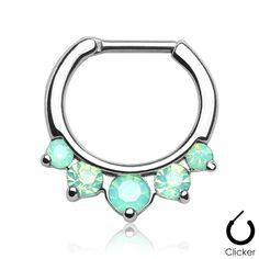Septum Clicker Opalites Green Nose Jewelry Surgical Stainless Seel Body Jewelry Daith