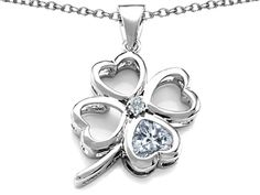 Star K Large 7mm Heart Shape Genuine White Topaz Lucky Clover Heart Pendant Necklace
