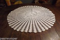 """Vintage 24"""" White Crochet Tablecloth BEAUTIFUL 1930-1940's All Handmade!"""