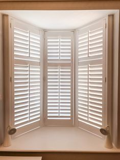 Oriel Bay Windows are no problem! Bespoke shutters for any size or shaped bay window. Free installation ends today! Call us on 0208 662 0126 before to place your order with our dedicated sales team! Bay Window Shutters, Wooden Shutters, Bay Windows, Bespoke, Blinds, Shapes, Curtains, Studio, Bedroom