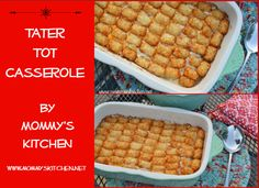 Tater Tot Casserole is a classic comfort food dish layered with ground beef, a creamy beef gravy, tater tots, and covered with shredded cheese. This dish is always a hit with the whole family. (with updated photos Make Ahead Freezer Meals, No Cook Meals, Easy Meals, Tater Tot Casserole, Tater Tots, Oven Dishes, Food Dishes, Baby Food Recipes, Cooking Recipes