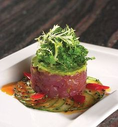 Culinary Trends – Tuna Tartare with Cucumber, Avocado and Chili Vinaigrette Culinary Trends – Tuna Tartare with Cucumber, Avocado and Chili Vinaigrette Fish Recipes, Seafood Recipes, Gourmet Recipes, Cooking Recipes, Healthy Recipes, Tuna Tartare Recipe, Japan Sushi, Fish Dishes, Food Plating