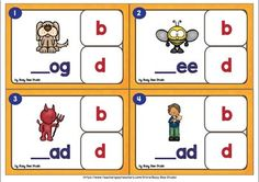 Letter Reversals / b and d, p and q Clip Cards/ b d confusion