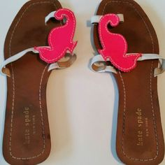 Classic first. Kate Spade sea horse sandal Size 7 hot pink and white seahorse one toe in sandal kate spade Shoes Sandals