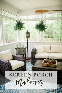 Screen Porch Makeover with Raymor & Flanigan // The before & after images along . Screen Porch Makeover with Raymor & Flanigan // The before & after images along with screen porch ideas and makeover tips Porch Furniture, Sunroom Decorating, House With Porch, Patio Decor, Home Decor, Porch Decorating, Porch Makeover, Remodel Bedroom, Screened In Porch Furniture