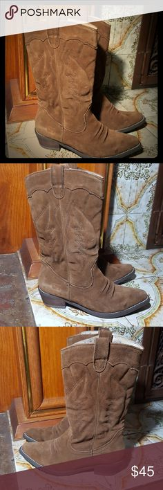 ROXY GIDDY-UP COW GIRL BOOTS BROWN SUEDE These Boots are in great preowned condition no holes or tears on suede uppers soles in great condition please see pictures and thanks for looking Roxy Shoes Heeled Boots