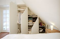 This is the solution to my annoying slanted ceiling! Attic Wardrobe, Attic Closet, Attic Renovation, Attic Remodel, Slanted Walls, Slanted Ceiling, Attic Doors, Attic Window, Attic Staircase