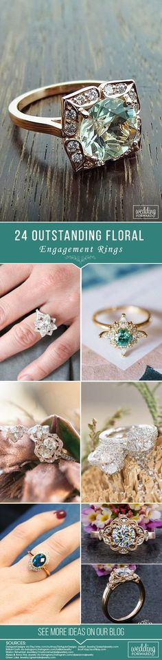 24 Outstanding Floral Engagement Rings ❤️If you search stunning alternatives to traditional engagement ring you must pay attention to floral engagement rings. See more: http://www.weddingforward.com/floral-engagement-rings/ ‎#bride #engagementrings #wedding