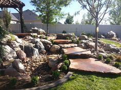Water feature, Water fountain, Flag stone steps, Utah landscape and design, Water ideas