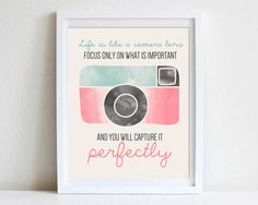 8x10 or 11x14 Inspirational Quote Wall Art Life Is Like A Camera Lens Photography Watercolor Photographer Quote Camera Wall Art