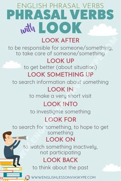 Phrasal Verbs with LOOK and their meanings - Intermediate Level English English Grammar Tenses, Teaching English Grammar, English Writing Skills, German Language Learning, English Verbs, English Phrases, English Lessons, English Tips, English Lesson Plans