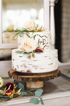 Rustic Wedding Ideas - rustic wedding cake. Loving the look of a birch tree. Simple and elegant.