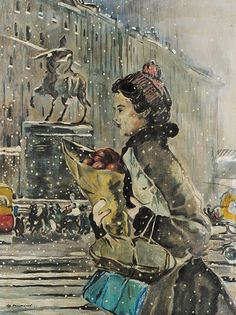 late 50's 'Winter In Moscow' by Yuri Pimenov (1903~1977)