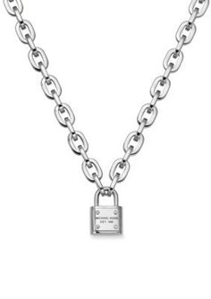 Michael Kors  Silver Tone Chain Link Padlock Toggle Necklace