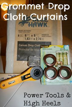 Power Tools and High Heels: Drop Cloth Curtains with Grommets. I will use this guide for outdoor patio curtains. Grommet Curtains, Diy Curtains, Yellow Curtains, Cafe Curtains, Drapery, Drop Cloth Projects, Canvas Drop Cloths, Outdoor Curtains, Patio Blinds