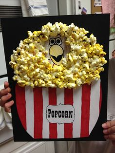 Disguised Turkey... Color turkey... Draw bowl on another sheet of paper to fit over bottom of turkey and color. Glue bowl on turkey bottom. Glue turkey to black card stock. Hot glue each piece of popcorn in place. Do not use Elmer's or mod podge. It makes the popcorn shrivel and get soggy.
