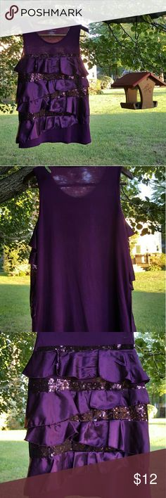 {Covington} plum colored party top Beautiful plum colored shirt from Covington. Large. Top has alternating bands of sequins and satin ruffles on the front. 62% polyester 38% rayon. Worn twice and in flawless condition. Great for holiday parties! Covington Tops