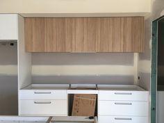Modern Kitchen with Laminex polar white cabinets + Polytec natural oak revine above counter cabinets Cute Kitchen, Kitchen Redo, Kitchen Layout, Kitchen Design, Kitchen Ideas, Laminate Cabinets, Laundry Cabinets, White Kitchen Cabinets, Timber Kitchen