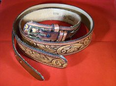 Vintage Ranger Style Leather Belt by legacyleathercraft on Etsy,     Only 2 available.    $34.95