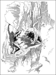 Frank Frazetta Tarzan At The Earth's Core Bear Attack Illustration and Preliminary Original Art Group of 2 - Available at 2015 August 27 - 29 Comics &. Frank Frazetta, Image Comics, Tarzan, Ink Illustrations, Illustration Art, Comic Books Art, Comic Art, Heavy Metal Comic, Comic Kunst