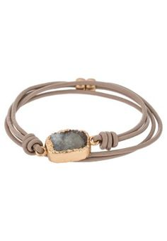 ANNEDORE - Armband - matt gold-colored/taupe/grey